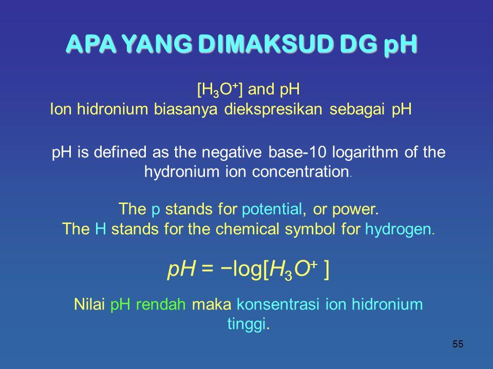 APA YANG DIMAKSUD DG pH pH = −log[H3O+ ] [H3O+] and pH